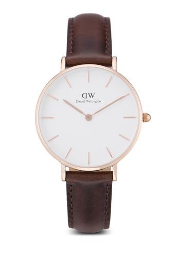 Daniel Wellington brown and gold Classic Petite Bristol Watch DA376AC60PLRMY_1