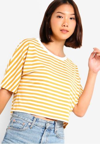 Something Borrowed 白色 and 黃色 oversized條紋短版上衣 A51DEAA1A62EDCGS_1