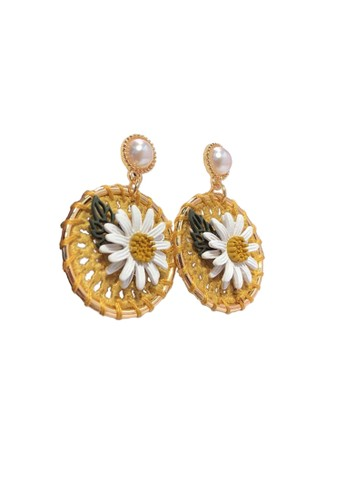La Miina yellow Chantel Round Earrings 36685AC78C9D97GS_1