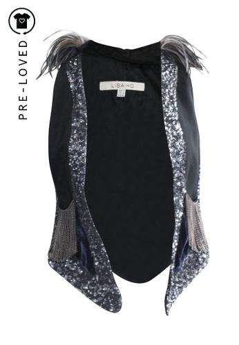 Lisa Ho black Pre-Loved lisa ho Feather Sequins Jacket 480AFAA3A87C3CGS_1