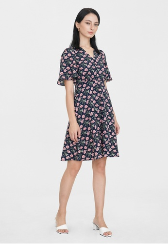 Pomelo blue Butterfly Sleeves Floral Print Dress - Navy 55B25AA0A58F44GS_1