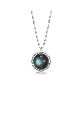 Glamorousky silver 925 Sterling Silver Fashion Simple Geometric Round Bead Imitation Moonstone Pendant with Necklace C5948AC774C37CGS_1