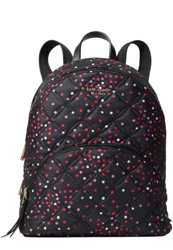 Kate Spade black Kate Spade Karissa Nylon Quilted Festive Confetti Large Backpack Bag in Multi 107D1ACE24384AGS_1