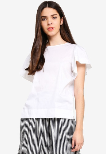 United Colors of Benetton white Pleated Sleeves Blouse B07CCAA558CDACGS_1