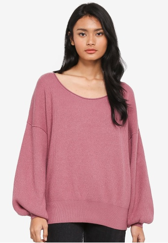 Free People pink Shadow Crew Pullover 66BF7AAA8AA194GS_1