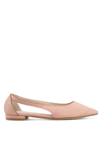 Velvet pink Toothed Edge Ballerina BEF73SHECF7583GS_1