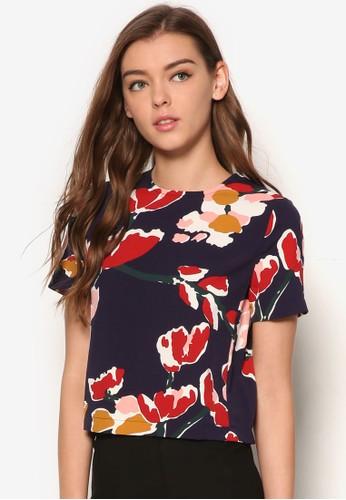 印花短版T-shirt、 服飾、 上衣ZALORA印花短版上衣最新折價