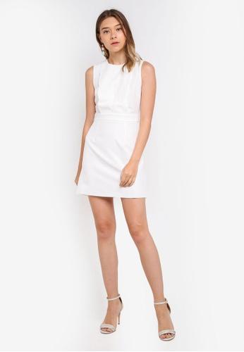 b4cfebb5e05a Buy Miss Selfridge White Scallop Front Shift Dress Online on ZALORA  Singapore