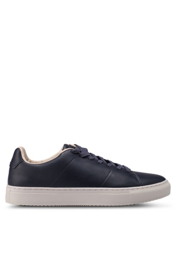 Burton Menswear London black and navy Leather Look Trainers A01CDSH846906EGS_1