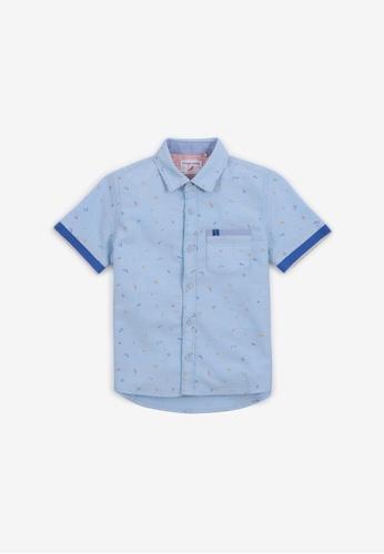 Gingersnaps blue Boys Squiggle Print Short Sleeves Shirt 0A31EKA0565651GS_1
