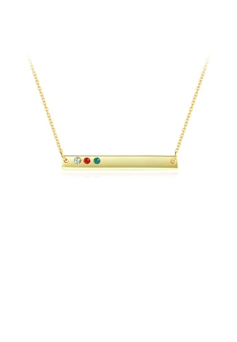Glamorousky silver 925 Sterling Silver Plated Gold Simple Bar Necklace with Austrian Element Crystal 9106AACDBD48E9GS_1