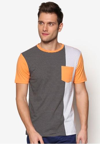 撞色條紋拼接口袋TEE, 服飾, 條esprit 面試紋T恤