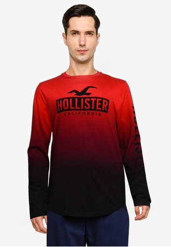 Hollister red Long Sleeve Iconic Print Ombre Tee DA964AAA2667A4GS_1