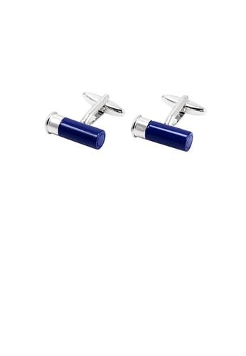 Glamorousky silver Fashion Creative Blue Shotgun Bullet Cufflinks 43B15AC2A6A242GS_1