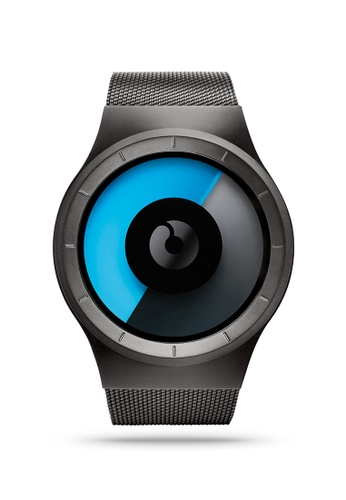 ZIIIRO black and grey and blue Celeste Gunmetal Mono Watch 03BADAC4B13470GS_1