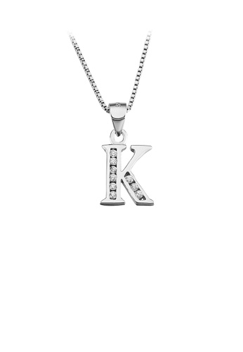 Glamorousky white 925 Sterling Silver Fashion Simple English Alphabet K Pendant with Cubic Zirconia and Necklace 10B6AAC8296A6AGS_1