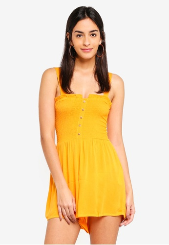 Supre yellow Hazel Shirred Button Front Playsuit AAA21AA1284025GS_1