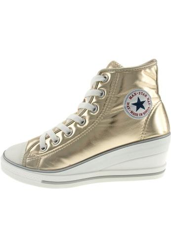 Maxstar 金色 新款韩国鞋7H-Zip時尚皮革布混合女金色 US Women Size MA345SH68HCDTW_1