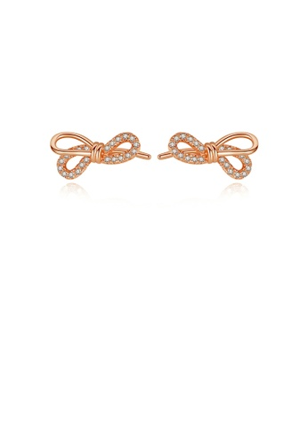 Glamorousky white 925 Sterling Silver Plated Rose Gold Fashion Simple Ribbon Stud Earrings with Cubic Zirconia EC282AC3E46BEDGS_1