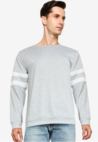 ZALORA BASICS grey Stripe Sleeve Sweatshirt A0A41AA2C6A123GS_1