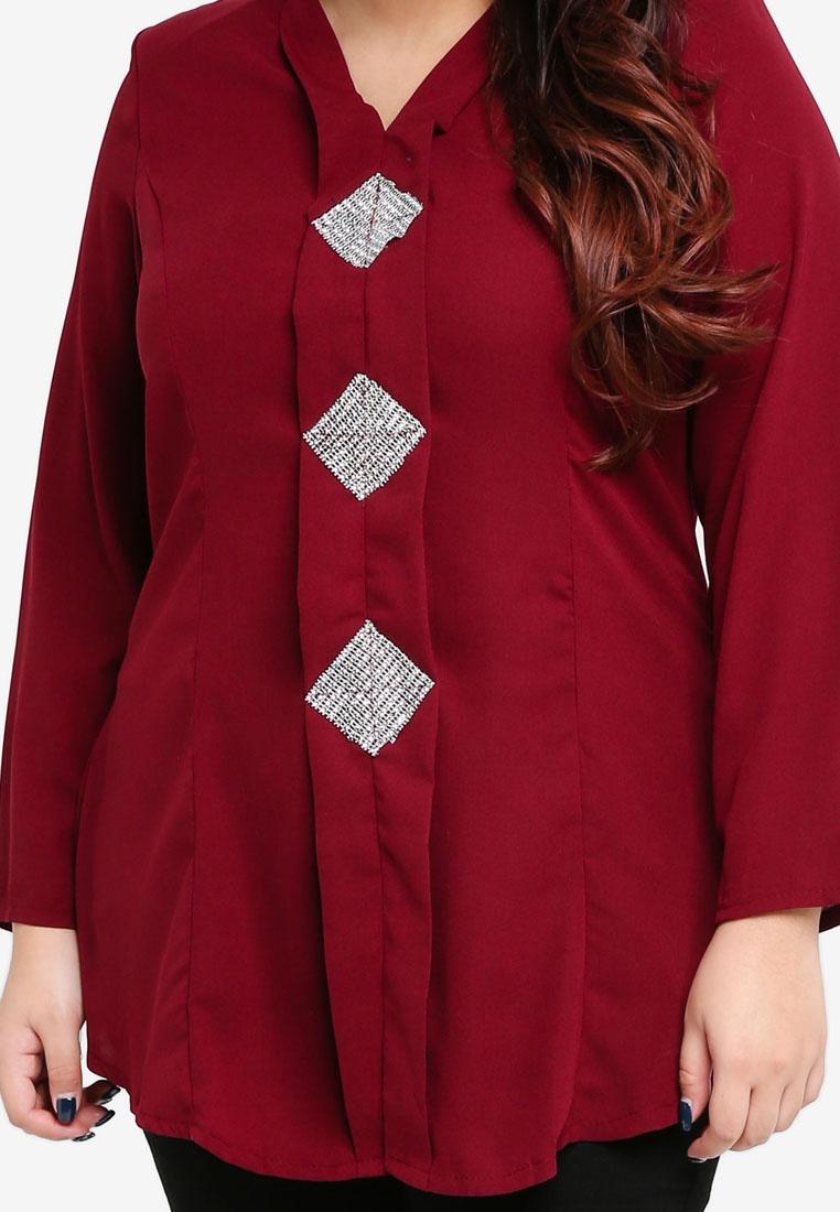 Size BYN Top Plus Kebaya Maroon xznY0Owq