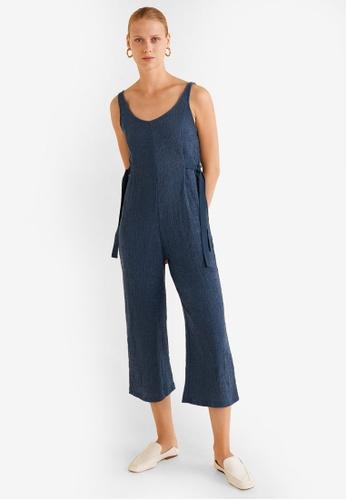 Mango blue Textured Long Jumpsuit E9D6FAAF4195ADGS_1