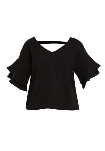 ZALORA black V-Neck Ruffle Sleeves Top 550C7AA49B17C7GS_1