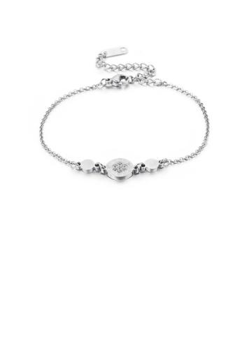 Glamorousky 白色 時尚簡約羅馬數字幾何圓形316L鋼手鏈配鋯石 0CC22AC95EEAC0GS_1