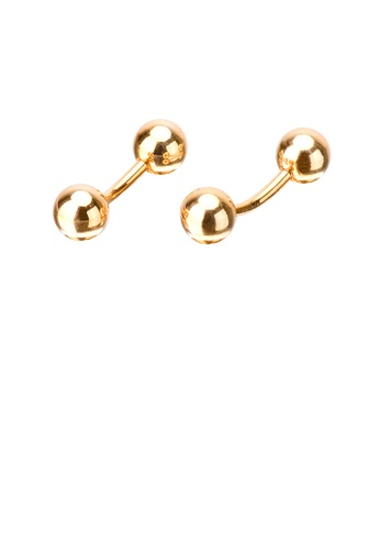 Glamorousky silver Simple Temperament Plated Gold Geometric Double Bead Cufflinks E485BAC6F449A4GS_1