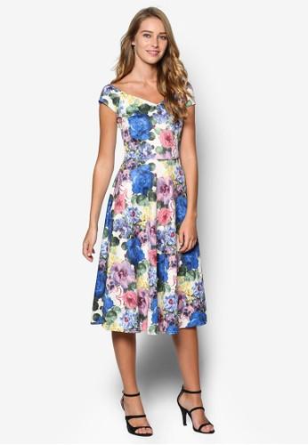 esprit outlet 台中心型領印花洋裝, 服飾, 洋裝