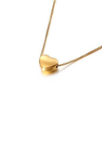 Glamorousky silver Simple and Sweet Plated Gold Heart-shaped 316L Stainless Steel Pendant with Necklace 2E8CAACA8CB00EGS_1