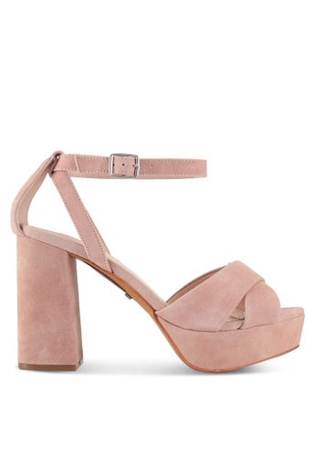 TOPSHOP beige Leah Cross Strap Platforms 9A21ASH9CD6148GS_1