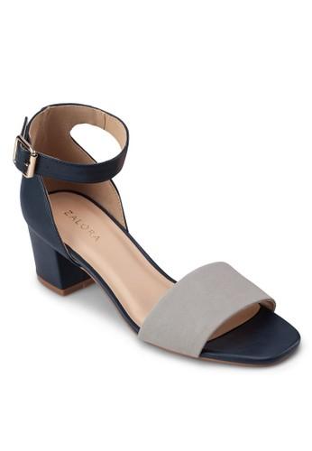 撞色寬帶繞踝粗跟涼鞋,zalora 衣服評價 女鞋, 中跟