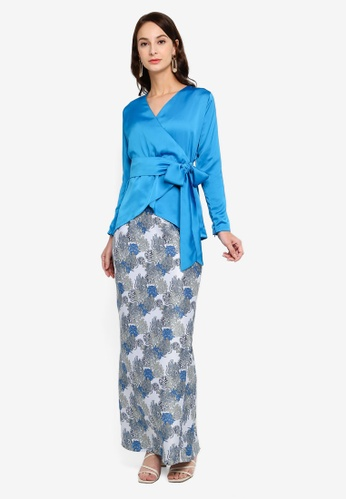 Camelia Modern Kimono Ribboned Style Top with Mermaid Maxi Skirt from Fazboka in Blue