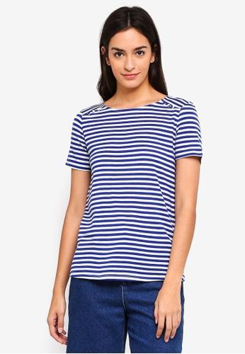Vero Moda white and blue Jany Sonia Short Sleeve Tee DFDF7AA6DEBE1BGS_1