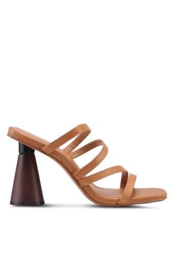 Mango 褐色 皮革錐形跟鞋 AD86ASH1498AA7GS_1