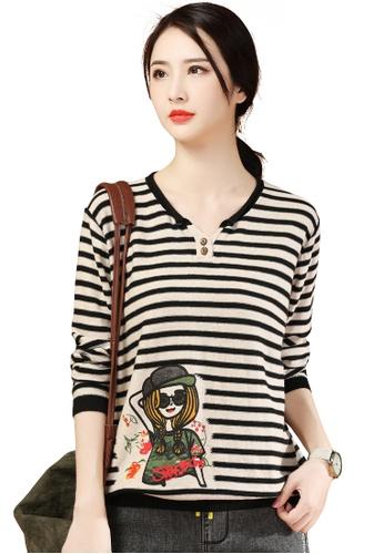 A-IN GIRLS black and beige Cute Striped Printed Sweater C9E3CAA5DEE56DGS_1
