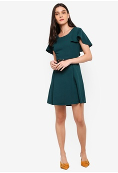 6b1c11ccde ZALORA Capelet Fit And Flare Dress With Belt RM 105.00. Sizes XS S M L XL