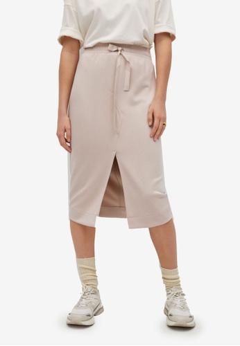 Mango brown Elastic Waist Skirt 9C3E5AAFB91BB1GS_1