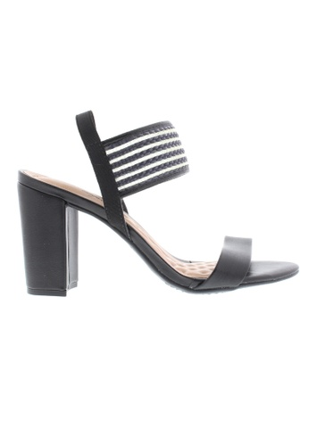 Beira Rio black and green Strap Block Heeled Sandal BE995SH69ZUOHK_1