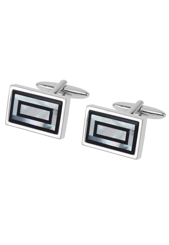 CUFF IT black and white Onyx and Mother of Pearl Double Rectangle Cufflinks CU047AC2UXSQHK_1