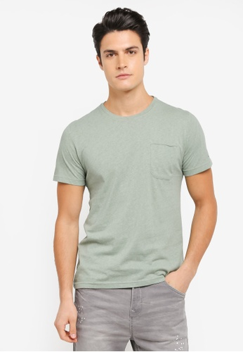 ZALORA green Washed Pocket Tee 0245DAA1570268GS_1