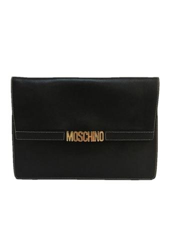 MOSCHINO black MOSCHINO LOGO CLUTCH 9D5E2AC618E06AGS_1