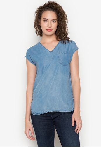 Bobson blue Box Fit Chambray Shirt With Front Pocket BO748AA0K5GZPH_1