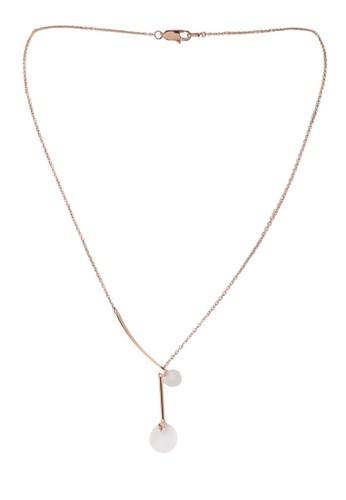 agnès b. gold Rose Gold Plated Sunshine Glass Necklace F638AAC8CBF573GS_1