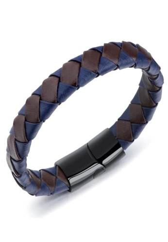 YOUNIQ brown YOUNIQ Titanium Steel Weave Genuine Leather Bracelet for Men (Blue Brown) D9C33AC293A528GS_1