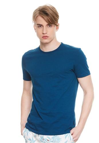 Sisley blue Round neckline T-shirt. C50E1AAC03501DGS_1