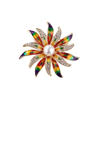 Glamorousky white Fashion and Elegant Plated Gold Enamel Color Flower Imitation Pearl Brooch with Cubic Zirconia DC8F1AC78B6B94GS_1
