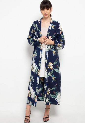 Chic Simple navy Printed Long Puff Sleeve Long Outer 87BDCAA48D4DF7GS_1