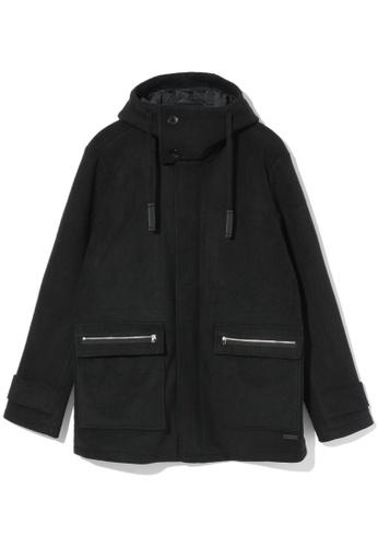 izzue black Hooded fleece coat 21F86AADECDA9EGS_1